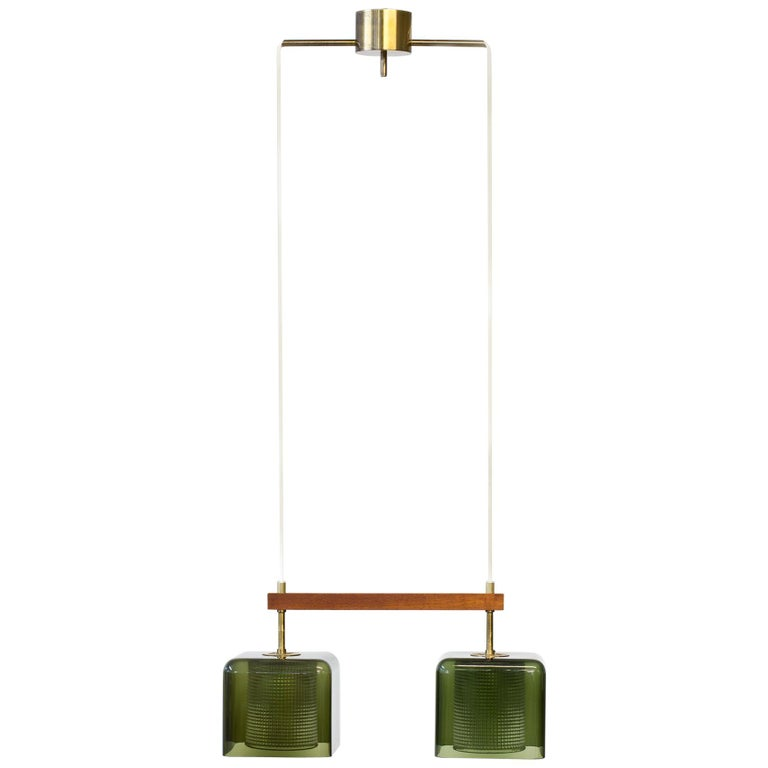 Teak, Glass and Brass Hanging Lamp by Carl Fagerlund for Orrefors, Sweden, 1960s For Sale