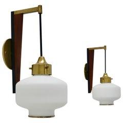 Teak Glass and Brass Sconces