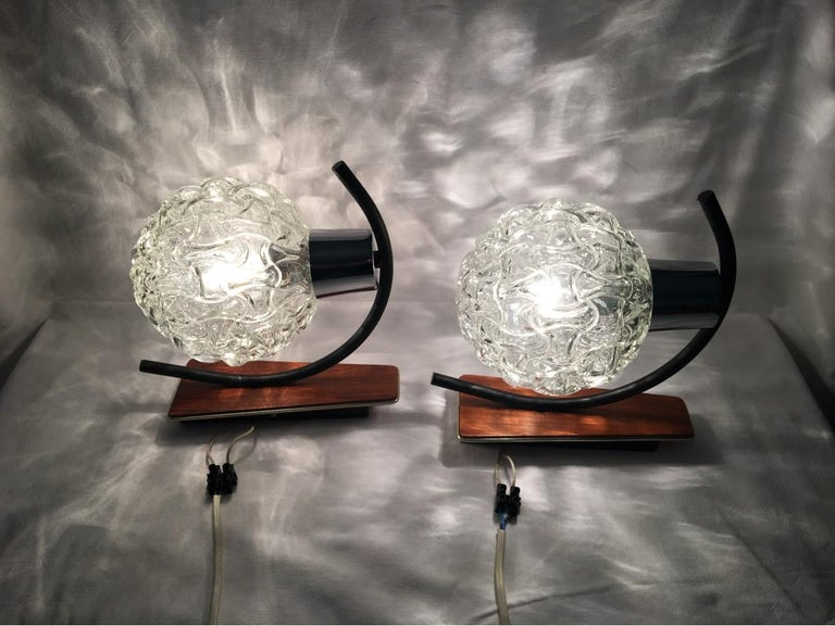 Teak, Glass and Chrome Sconces by Besigheimer Leuchten, 1960s, Germany For Sale 6