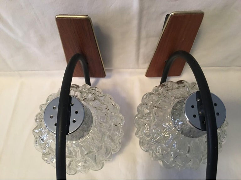 Teak, Glass and Chrome Sconces by Besigheimer Leuchten, 1960s, Germany For Sale 2
