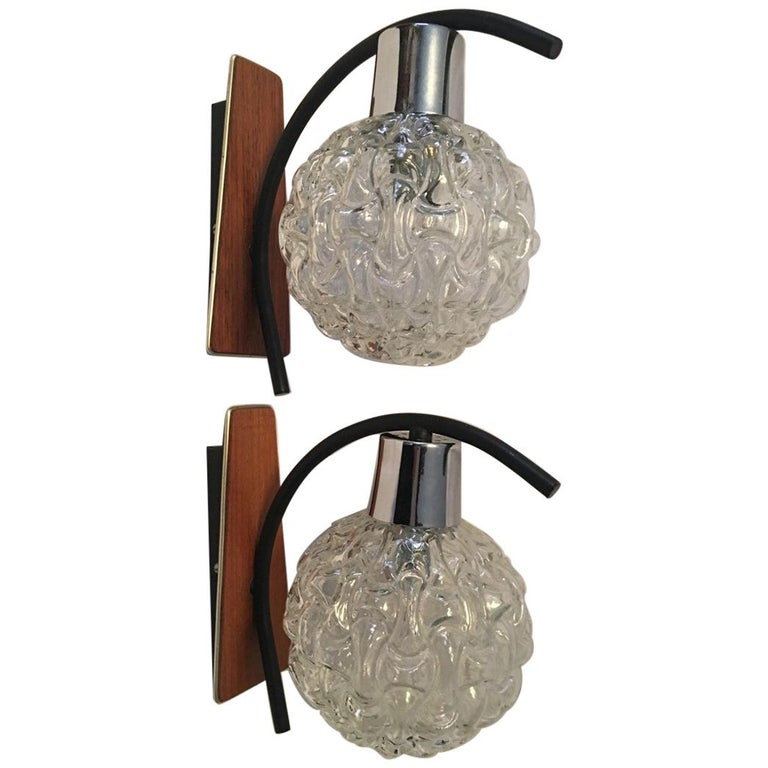 Teak, Glass and Chrome Sconces by Besigheimer Leuchten, 1960s, Germany For Sale