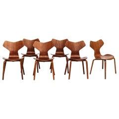 Teak Grand Prix Chairs by Arne Jacobsen, Set of Six