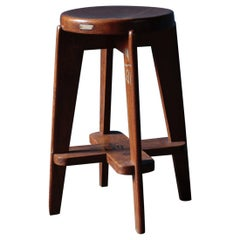 Teak High Stool by Pierre Jeanneret