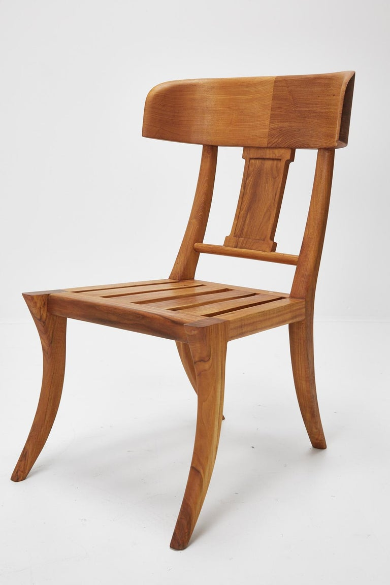 Classical Greek Teak Klismos Side or Dining Chair by Michael Taylor Collections For Sale