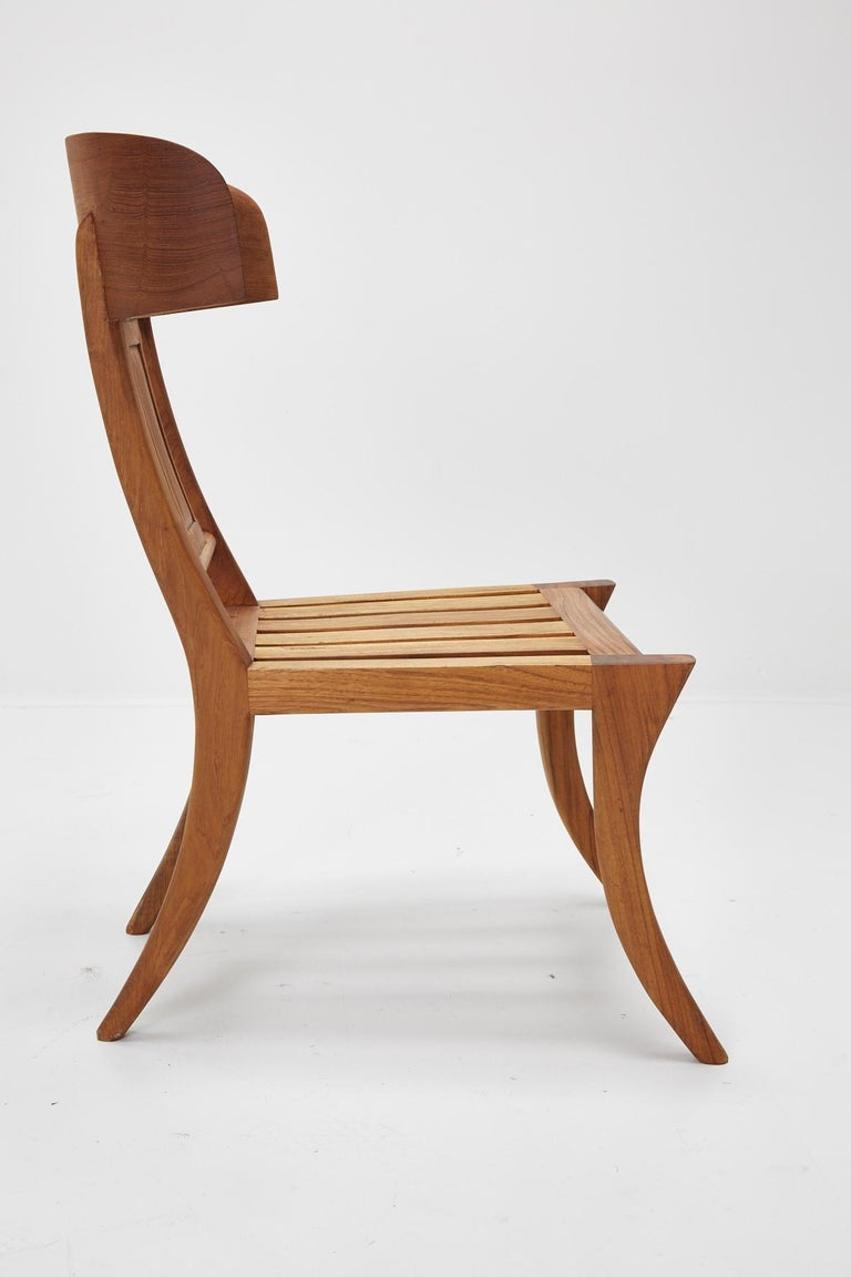 Teak Klismos Side or Dining Chair by Michael Taylor Collections In Good Condition For Sale In Los Angeles, CA