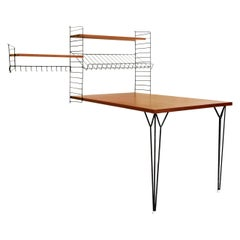 Teak 'Ladder Shelf' Shelving Wall Unit with Table by Nisse Strinning for String