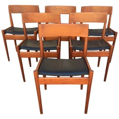 Teak and Leather Dining Chairs by Grete Jalk for P. Jeppesen, Denmark, 1950s