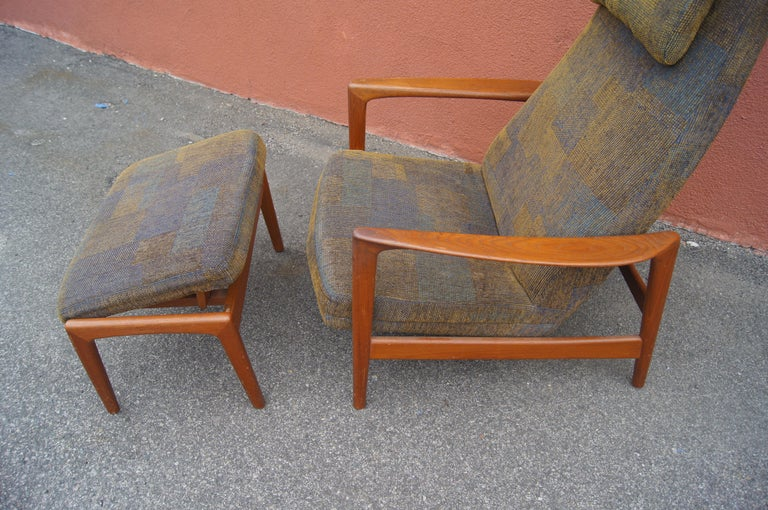 Danish Teak Lounge Chair and Ottoman by Folke Ohlsson for DUX For Sale