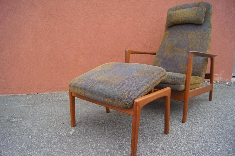 Metal Teak Lounge Chair and Ottoman by Folke Ohlsson for DUX For Sale