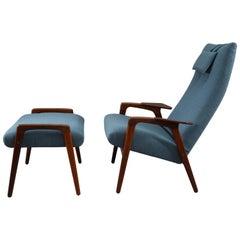 Teak Lounge Chair with Ottoman Yngve Ekstrom Scandinavian, 1960