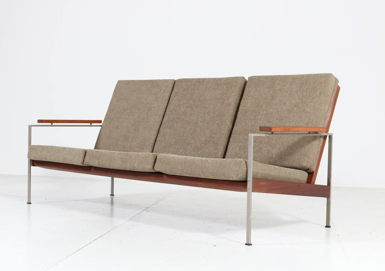 Fabric Teak Mid-Century Modern Bench or Sofa Attributed to Topform, 1960s For Sale