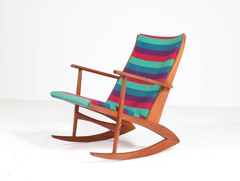Danish Teak Mid-Century Modern Rocking Chair by Holger George Jensen, 1958 For Sale