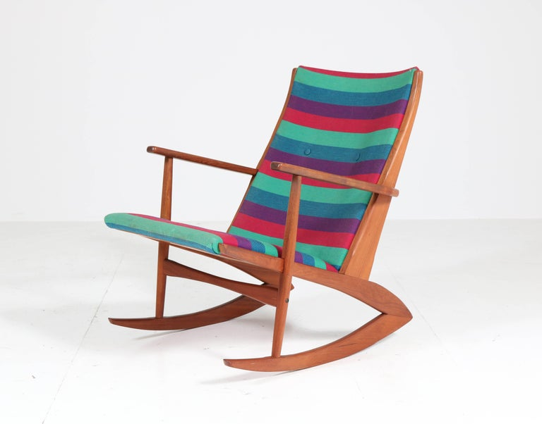 Teak Mid-Century Modern Rocking Chair by Holger George Jensen, 1958 In Good Condition For Sale In Amsterdam, NL