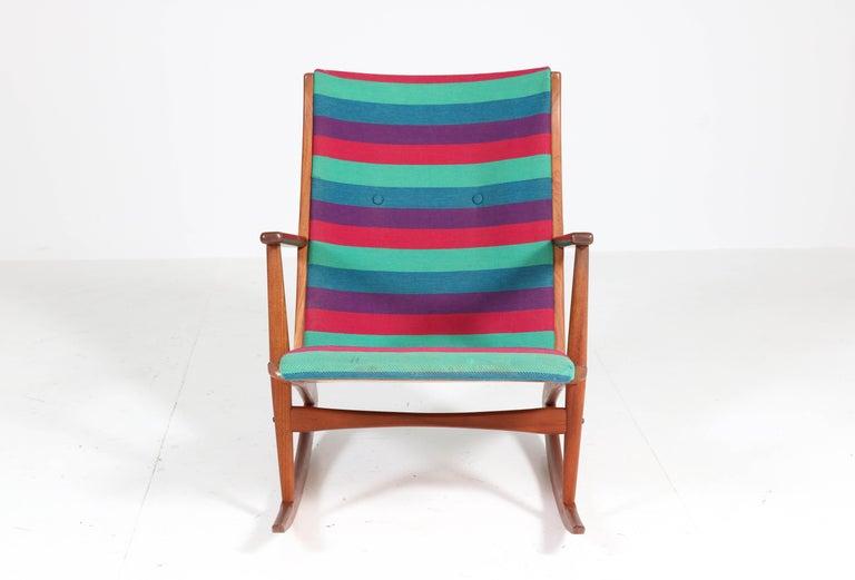 Fabric Teak Mid-Century Modern Rocking Chair by Holger George Jensen, 1958 For Sale