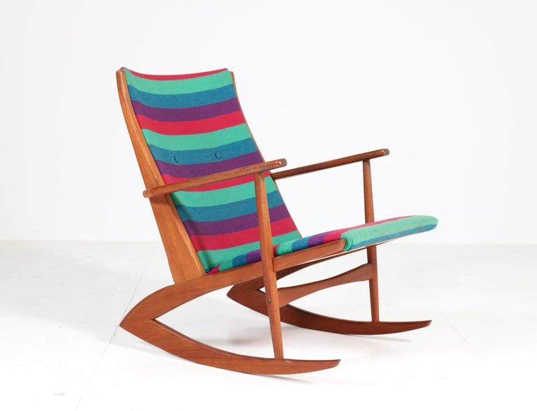 Teak Mid-Century Modern Rocking Chair by Holger George Jensen, 1958 For Sale 1
