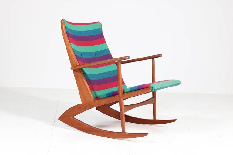 Teak Mid-Century Modern Rocking Chair by Holger George Jensen, 1958 For Sale 2