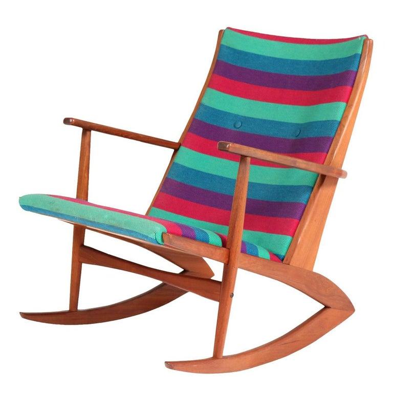 Teak Mid-Century Modern Rocking Chair by Holger George Jensen, 1958 For Sale