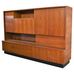 Teak Mid-Century Modern Wall Storage Bookcase Cabinet with Drop Front Desk