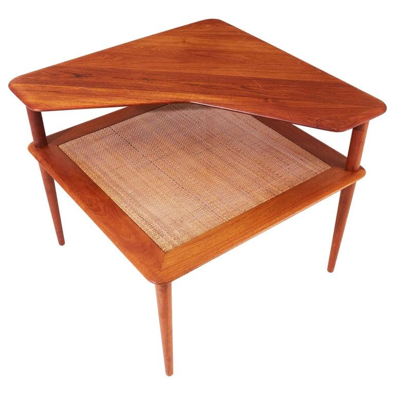 "Teak ""Minerva"" Corner Table by Peter Hvidt & Orla Molgaard-Nielsen, 1960s For Sale"