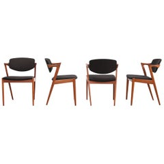 Teak Model 42 Dining Chairs by Kai Kristiansen with Fabric of Choice, Denmark