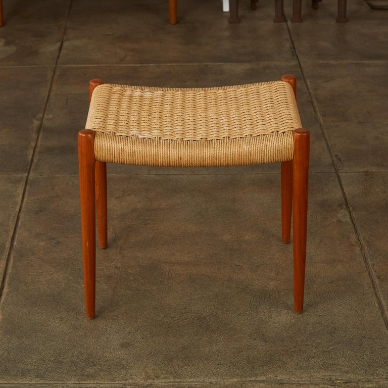 Teak Model 80A Ottoman by Niels Møller with Danish Cord Seat In Excellent Condition In Los Angeles, CA
