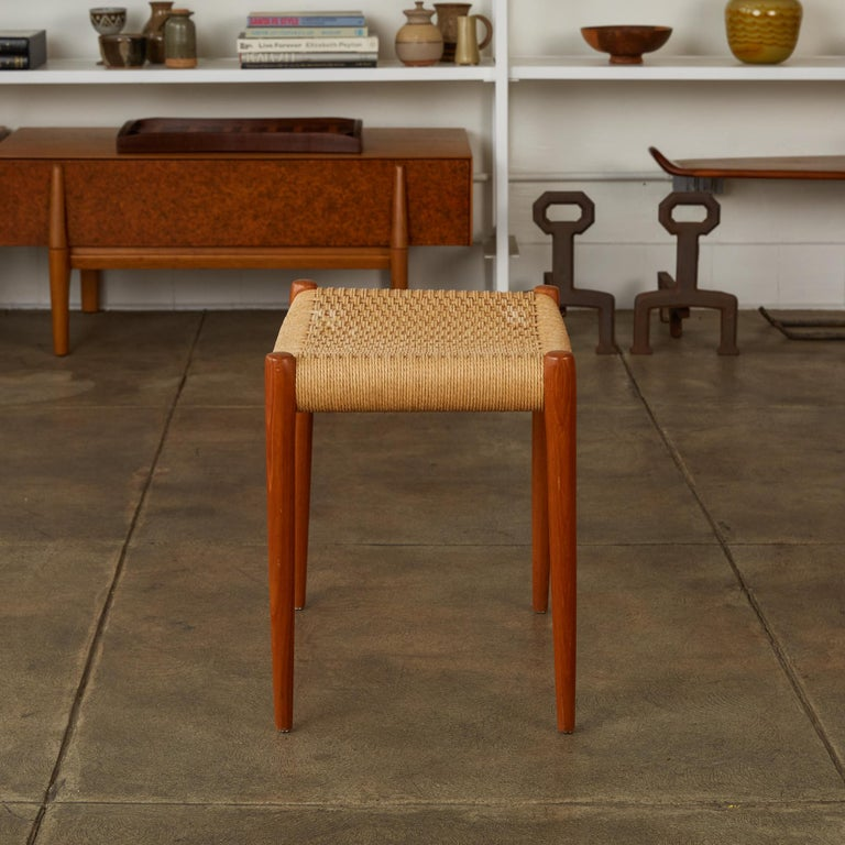 Mid-20th Century Teak Model 80A Ottoman by Niels Møller with Danish Cord Seat