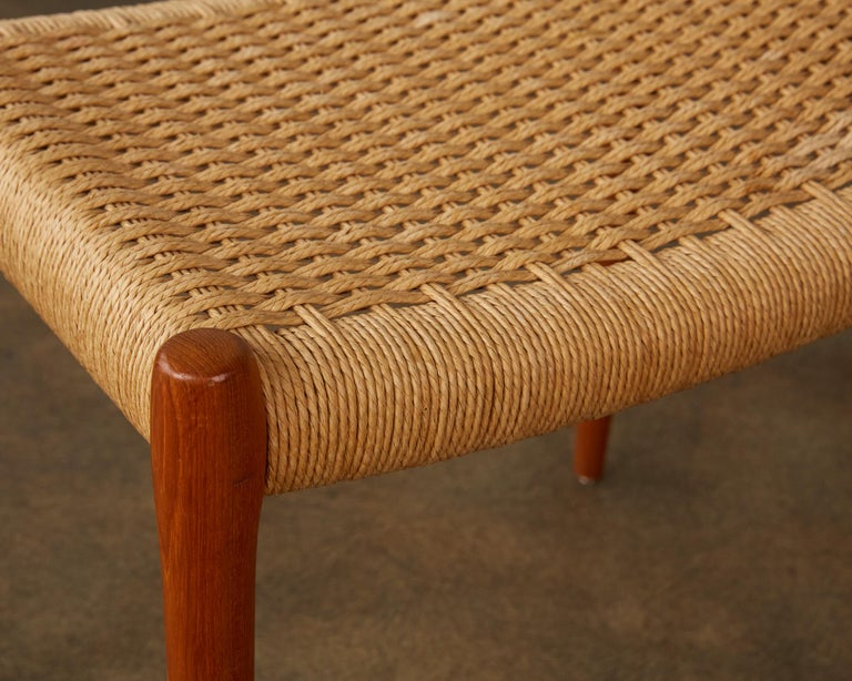 Papercord Teak Model 80A Ottoman by Niels Møller with Danish Cord Seat