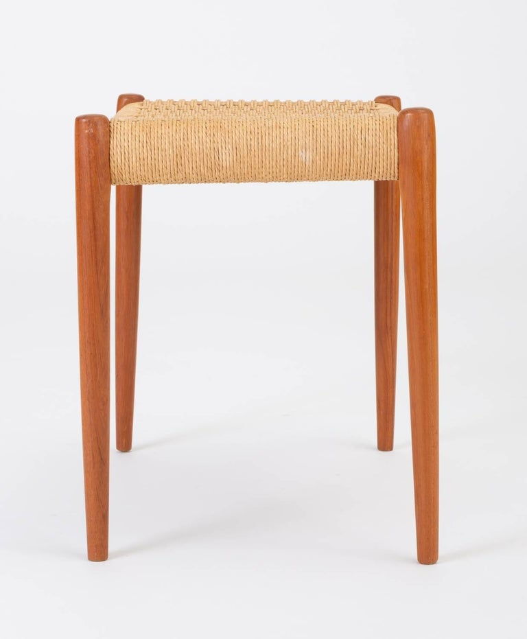 Teak Model 80A Ottoman by Niels Møller with Danish Cord Seat For Sale 3