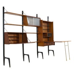 Teak Modular Wall Unit with Large Table/ Desk Unit by Louis Van Teeffelen, 1950s