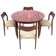 Teak N. O. Moller Chairs with Table, Denmark, 1960s