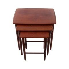 Teak Nest of Tables, 1960s Danish Modern Set of 3 Nested Tables