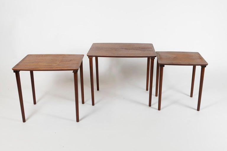 Mid-20th Century Teak Nest of Tables, Denmark 1960s Marked under Top For Sale