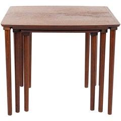 Teak Nest of Tables, Denmark 1960s Marked under Top