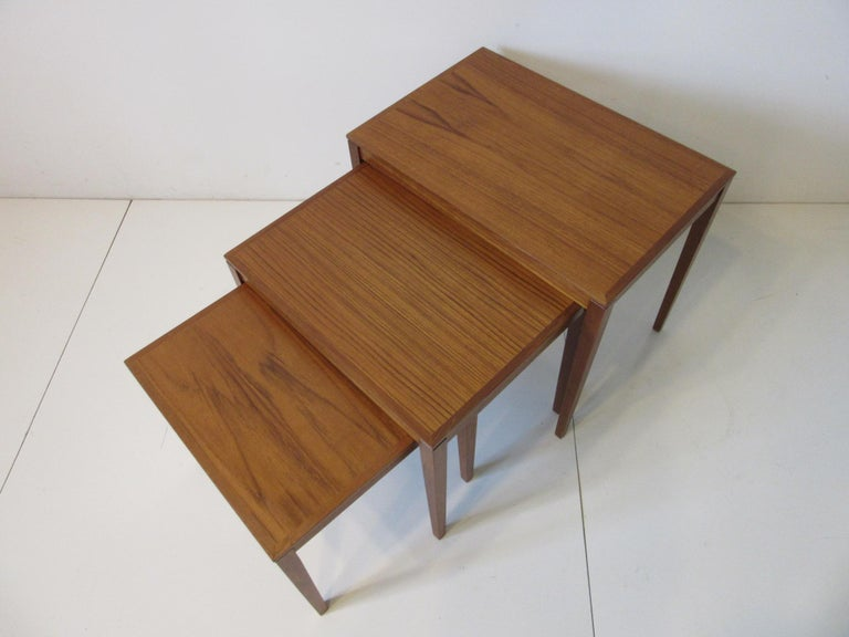 Teak Nesting Side Table Set by Bent Silberg, Denmark For Sale 4