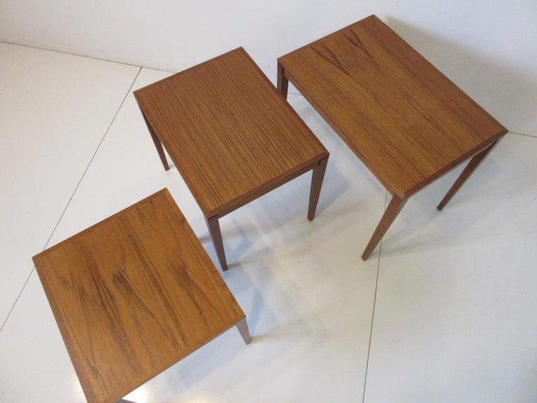 Mid-Century Modern Teak Nesting Side Table Set by Bent Silberg, Denmark For Sale