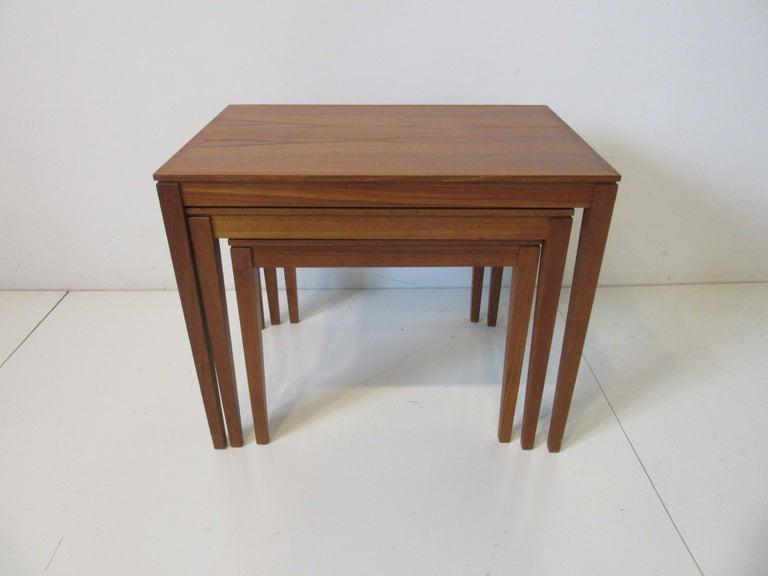 Danish Teak Nesting Side Table Set by Bent Silberg, Denmark For Sale