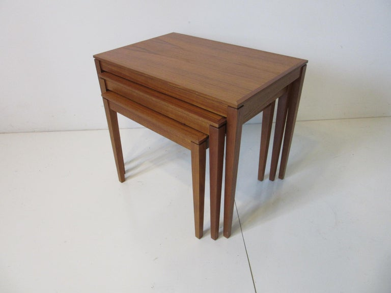 Teak Nesting Side Table Set by Bent Silberg, Denmark In Good Condition For Sale In Cincinnati, OH