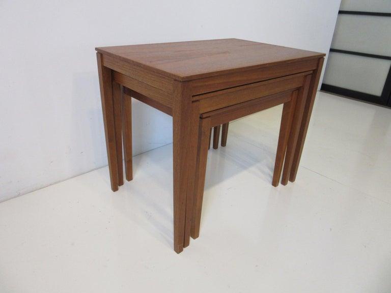 20th Century Teak Nesting Side Table Set by Bent Silberg, Denmark For Sale