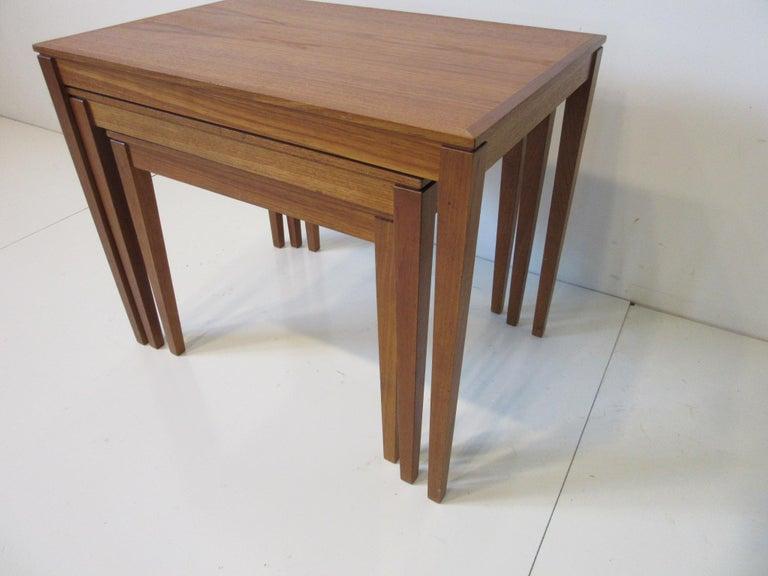 Teak Nesting Side Table Set by Bent Silberg, Denmark For Sale 1