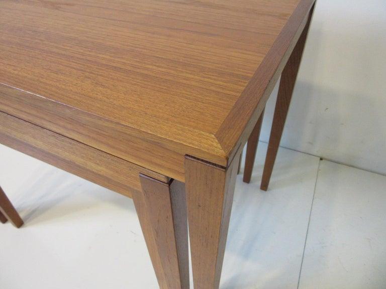 Teak Nesting Side Table Set by Bent Silberg, Denmark For Sale 2