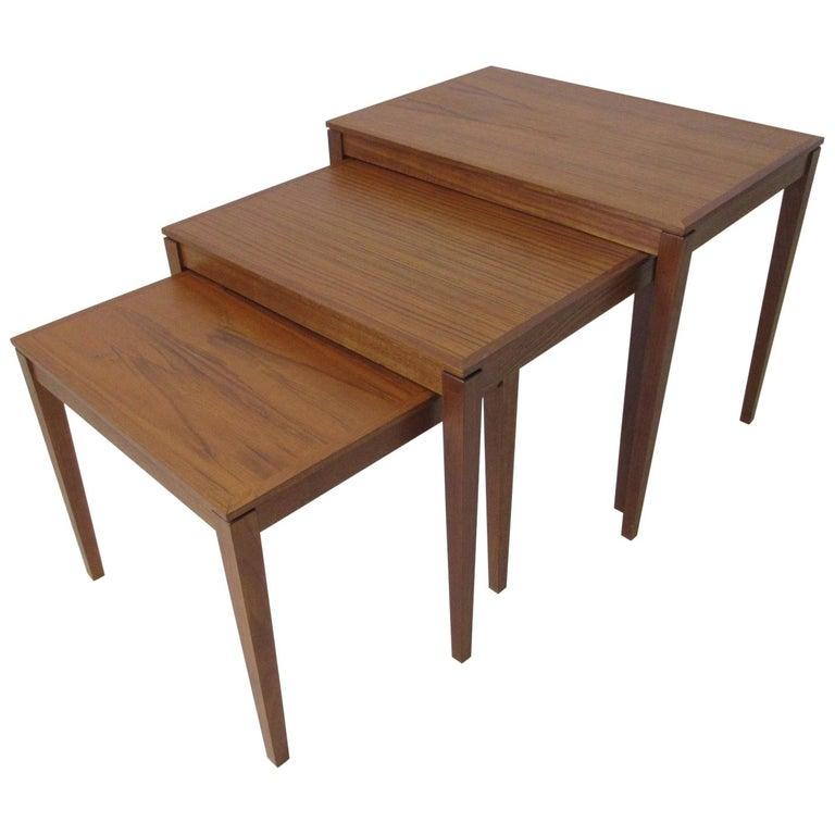 Teak Nesting Side Table Set by Bent Silberg, Denmark For Sale