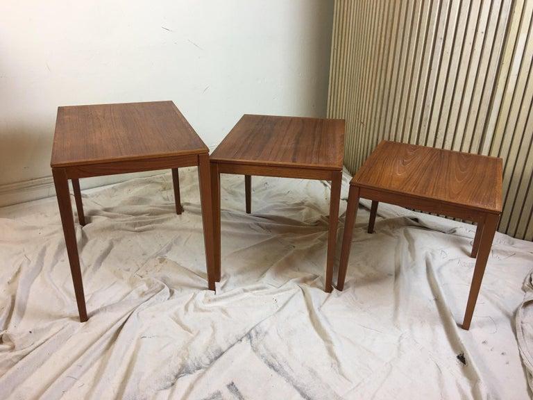 Scandinavian Modern Teak Nesting Tables by Bent Silberg Mobler Denmark