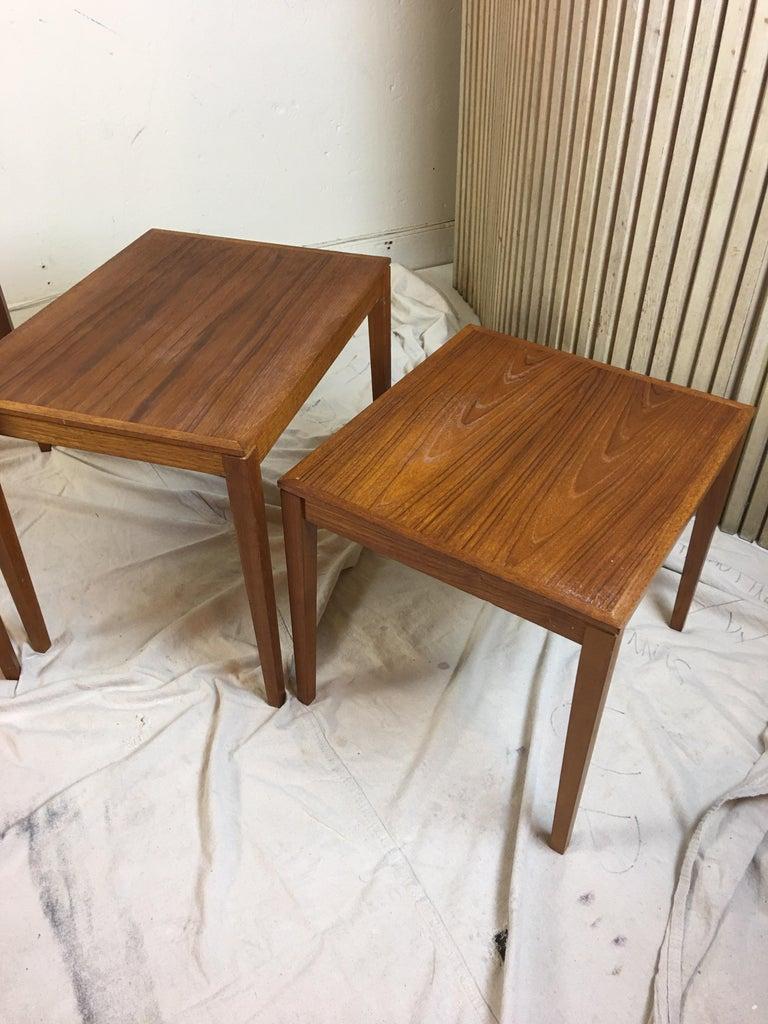 Danish Teak Nesting Tables by Bent Silberg Mobler Denmark