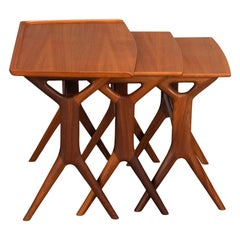 Teak Nesting tables by Johannes Andersen for CFC Silkeborg, 1960s, Set of 3