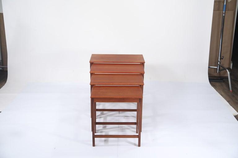 Teak Nesting Tables by Peter Hvidt and Orla Molgaard Nielsen for Illums Bolighus For Sale 4