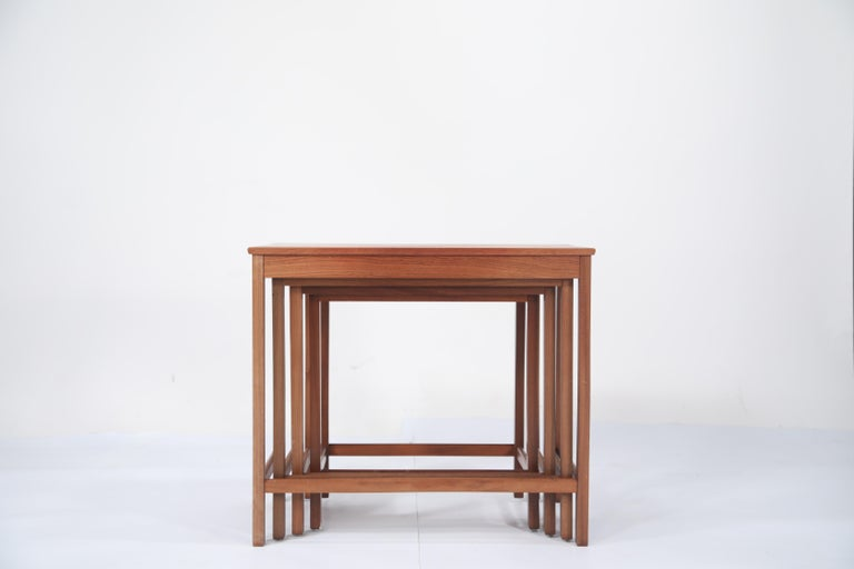 Teak Nesting Tables by Peter Hvidt and Orla Molgaard Nielsen for Illums Bolighus For Sale 5