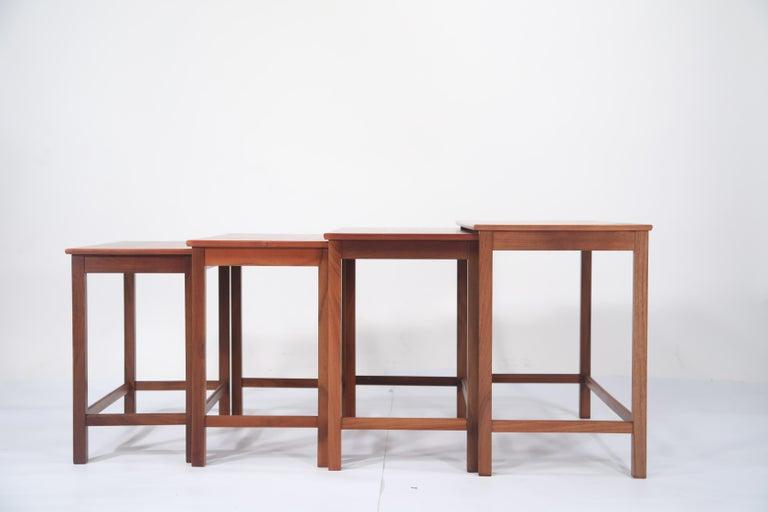Mid-Century Modern Teak Nesting Tables by Peter Hvidt and Orla Molgaard Nielsen for Illums Bolighus For Sale