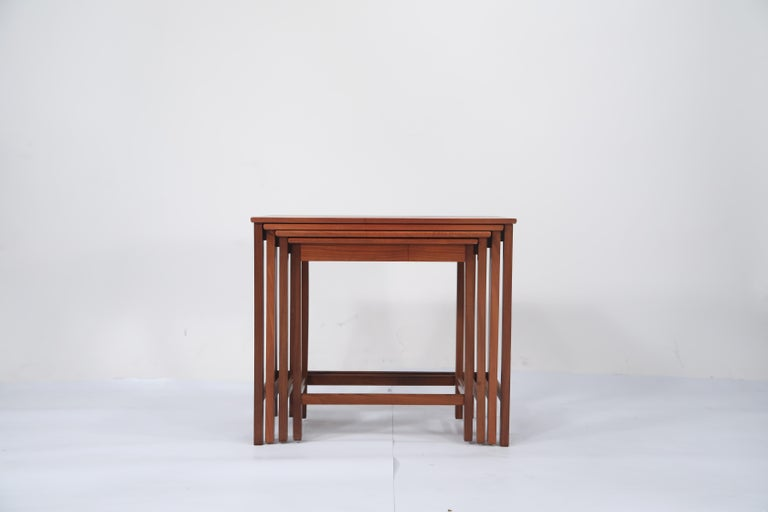 Teak Nesting Tables by Peter Hvidt and Orla Molgaard Nielsen for Illums Bolighus In Excellent Condition For Sale In Los Angeles, CA