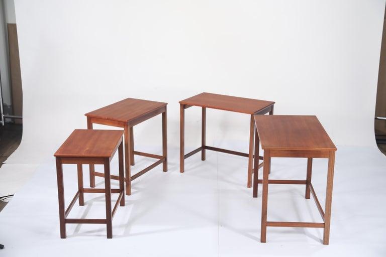 Teak Nesting Tables by Peter Hvidt and Orla Molgaard Nielsen for Illums Bolighus For Sale 2