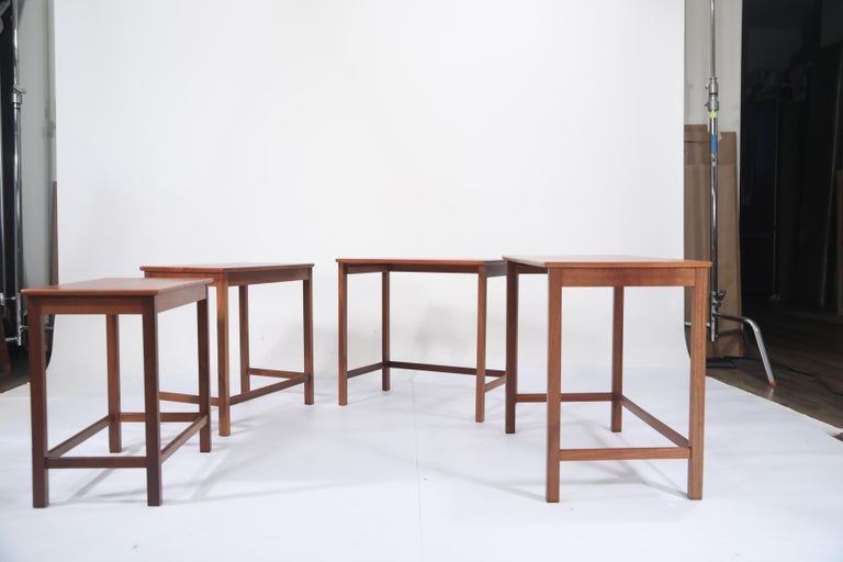 Teak Nesting Tables by Peter Hvidt and Orla Molgaard Nielsen for Illums Bolighus For Sale 3
